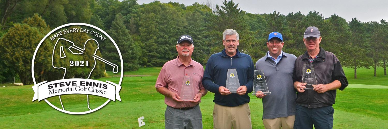 2020 Steve Ennis Memorial Golf Classic Champion Team posing with their trophies